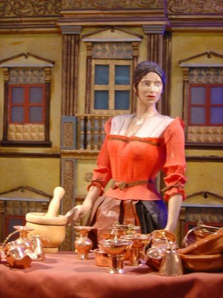 Dekoratives allerlei von den Kupferhändlern - das Bild ist ein Ausschnitt einer spanischen Weihnachtskrippenlandschaft