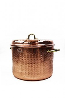 """CopperGarden®"" hammered copper pot 18L with handles and lid"