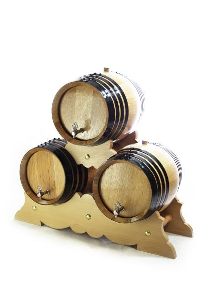 Set: 3x 8 L Barrel American Oak with Stand, white oak, toasted