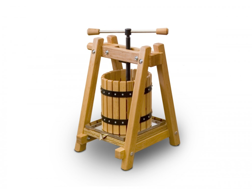 fruit and wine press 10 litres made of beech. Black Bedroom Furniture Sets. Home Design Ideas