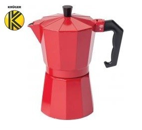 "Krueger"" Moka Pot, 6-cup espresso maker, red"