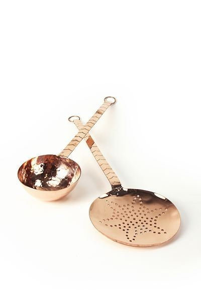 SET:  CopperGarden®  Ladle & Strainer Scoop, 34 cm with long handle