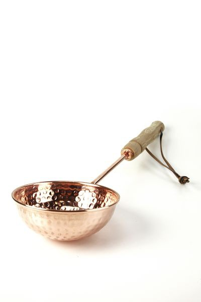 CopperGarden®  hand-hammered copper ladle with wood handle