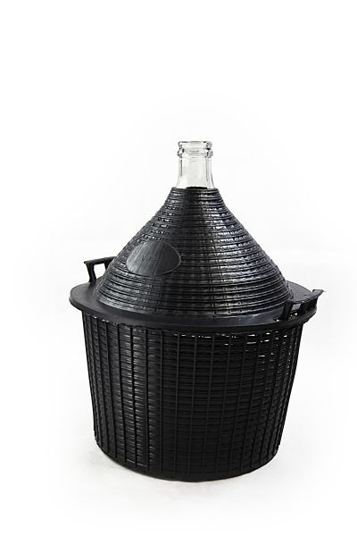 Glass carboy / demijohn with protective basket, 54 L - for storage and fermentation