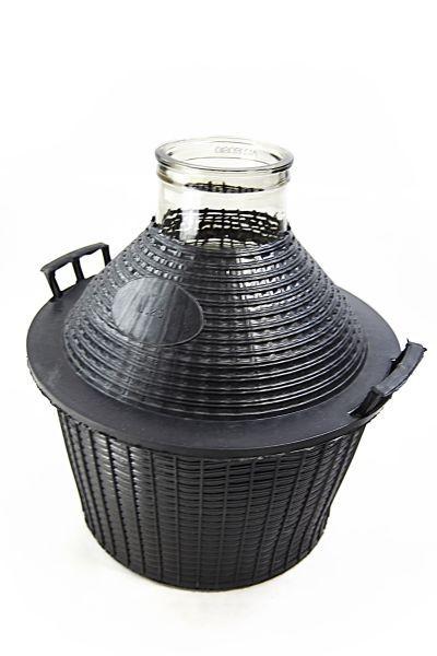 bonbonne en verre 10 l col large avec corbeille. Black Bedroom Furniture Sets. Home Design Ideas
