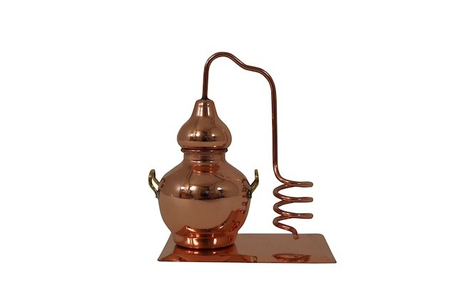 CopperGarden®  Decorative Miniature Alembic with Cooling coil on a copper plate